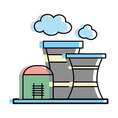 industrial factory to contamination of environment and ecology vector illustration Illustration