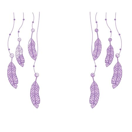 silhouette beauty feathers hanging to design decoration