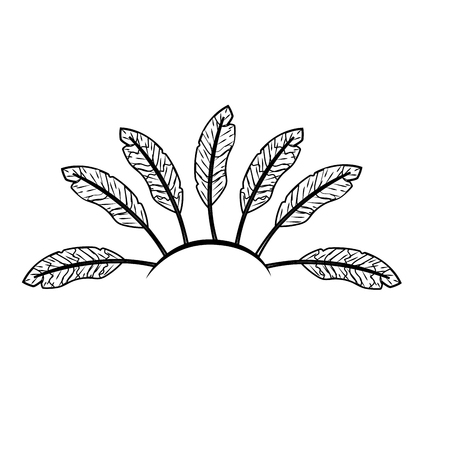line beauty diadem of feathers design decoration Ilustracja