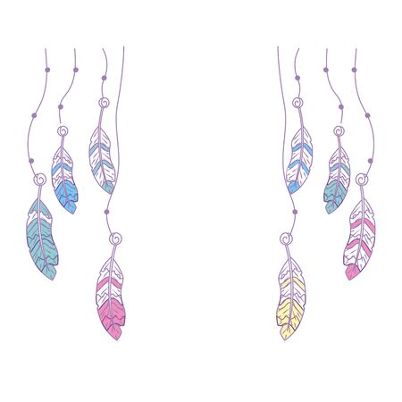 Beauty feathers hanging to design decoration vector illustration