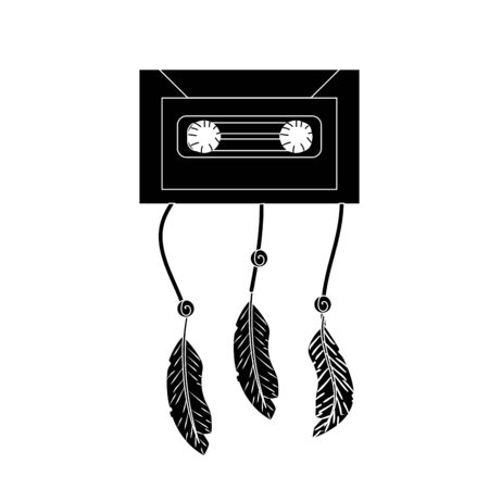 cd recorder: contour technology cassete with feathers design Illustration