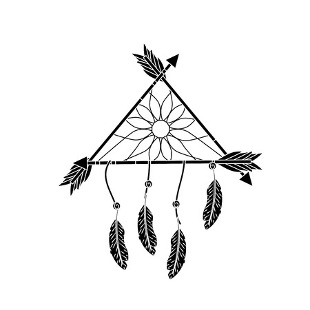 contour beauty dream catcher with feathers and arrows design