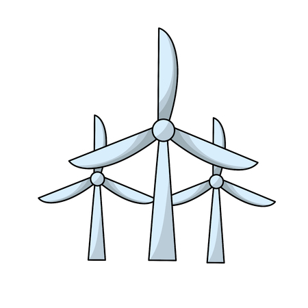 windpower technology to environment protection Иллюстрация