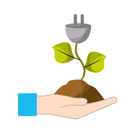 hand with power cable plant with leaves and ground