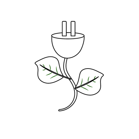 line power cable with leaves to environment care Illustration