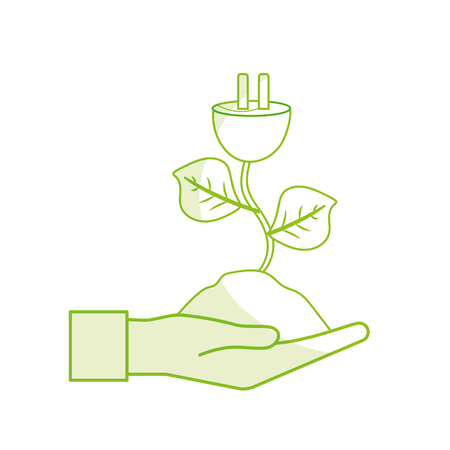 A silhouette hand with power cable plant with leaves and ground vector illustration. Illustration