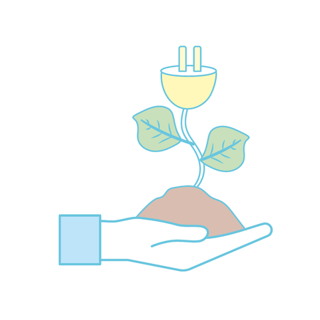 A hand with power cable plant with leaves and ground vector illustration.