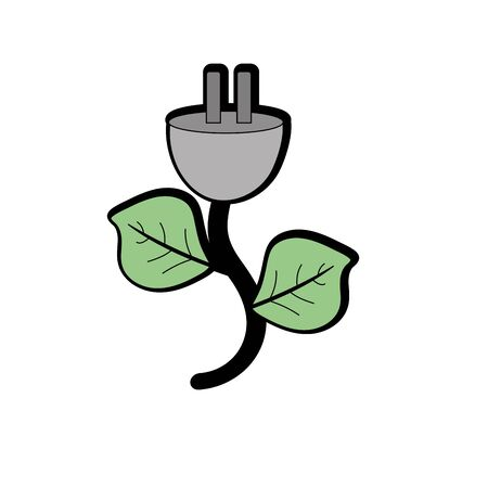 electrical engineer: power cable with leaves to environment care Illustration