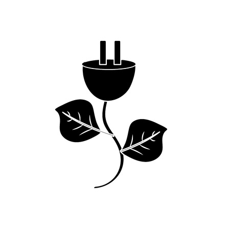 contour power cable with leaves to environment care vector illustration Illustration