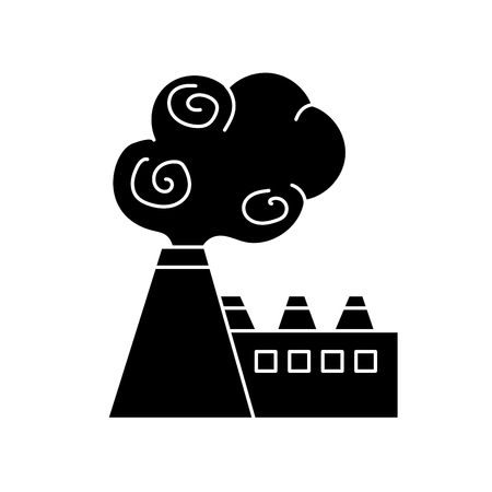 co2: contour industrial factory pollution with toxic pollution vector illustration Illustration