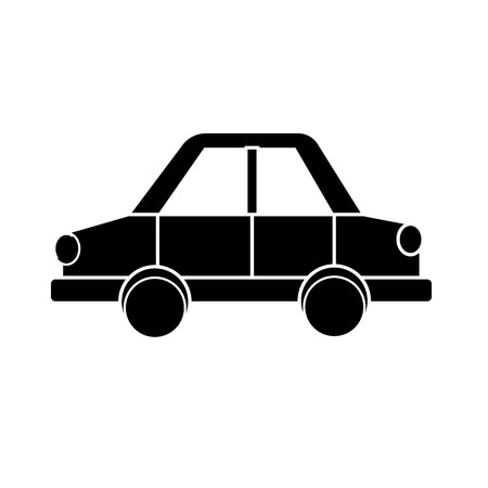 contour car design to transportation with tires and doors vector illustration Illustration