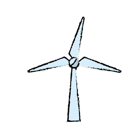 windpower technology to environment protection vector illustration Иллюстрация