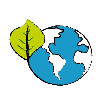 global earth planet with leaf symbol to environment care vector illustration Illustration