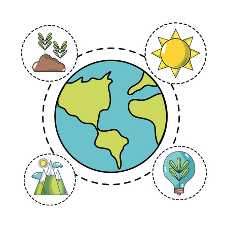 global earth planet with icons to ecology care vector illustration