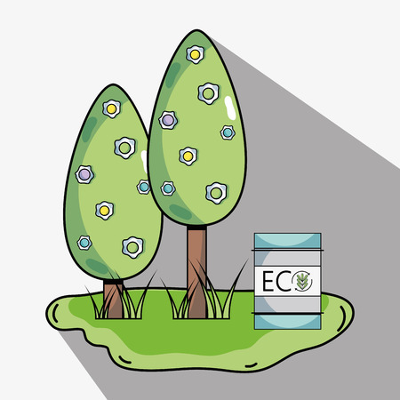 trees with ecology tank to environment protection vector illustration
