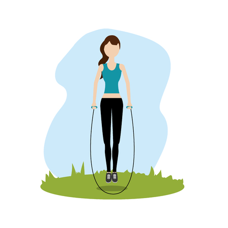 woman jumping to do exercise Illustration