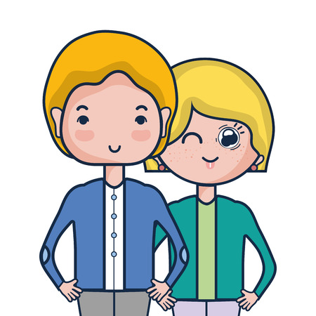 beauty couple together with hairstyle design Illustration