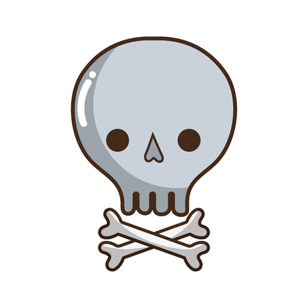 noxious: skull with bones to danger and warning symbol