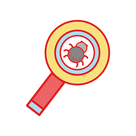 cobwebs: magnifying glass with spider insect inside Illustration