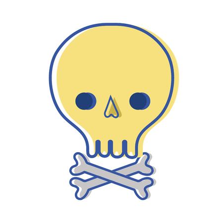 riesgo quimico: cráneo con huesos al peligro y símbolo de advertencia