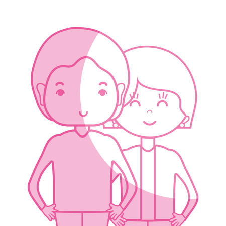 silhouette beauty couple together with hairstyle design Illustration