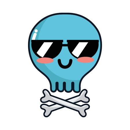 calavera caricatura: Cráneo lindo de la invitación del kawaii con los huesos