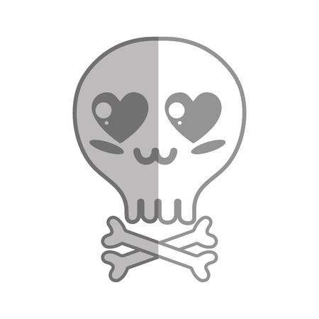 calavera caricatura: silhouette kawaii cute tender skull with bones
