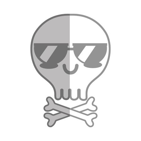 calavera caricatura: silueta kawaii tierna calavera tierna con huesos Vectores