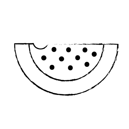 figure delicious and healthy watermelon slice fruit vector illustration