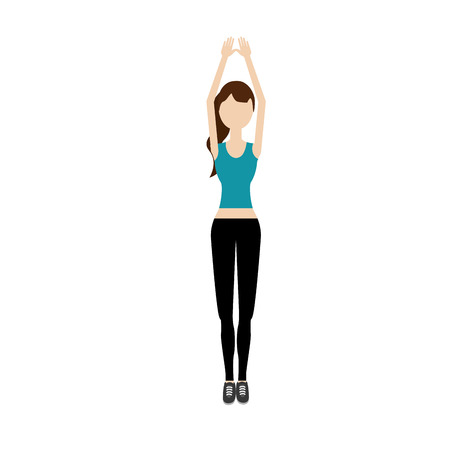 healthy woman doing exercise vector illustration design