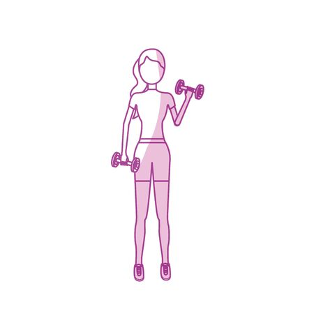 silhouette woman with dumbbell to do exercise