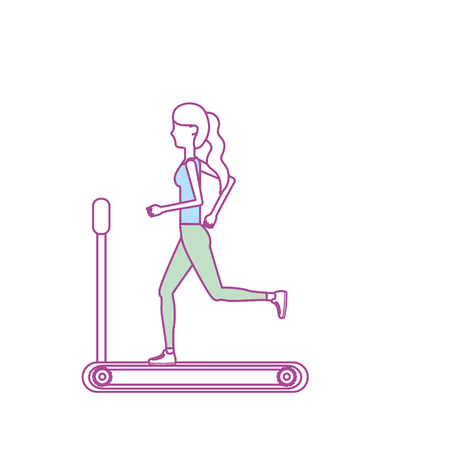 runing: healthy woman doing exercise in the runing mashine vector illustration Illustration