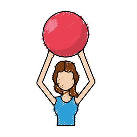 Healthy woman doing exercise with ball vector illustration