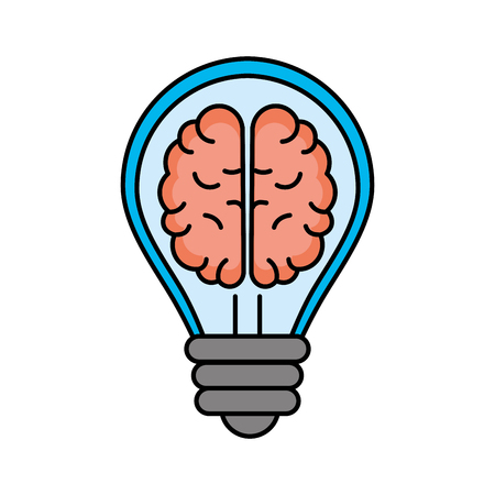 creative bulb with brain inside over white background