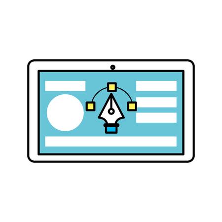 비즈니스 웹 사이트 및 화살표 커서가있는 태블릿