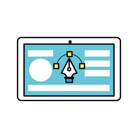 tablet with business website and arrow cursor Illustration