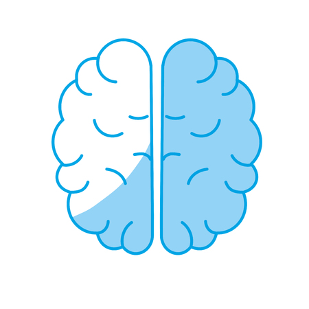 A silhouette creative brain with idea over white background vector illustration.