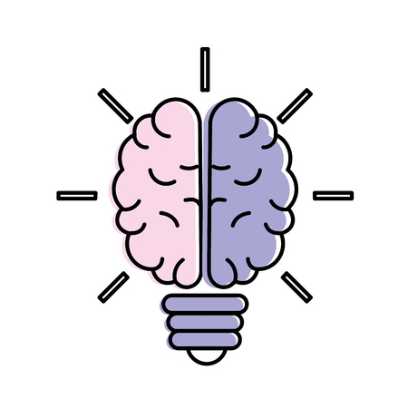 brain bulb to crative ideas solutions vector illustration