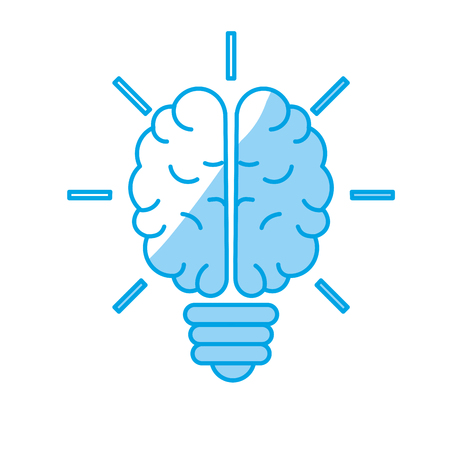 Silhouette brain bulb to crative ideas solutions vector illustration
