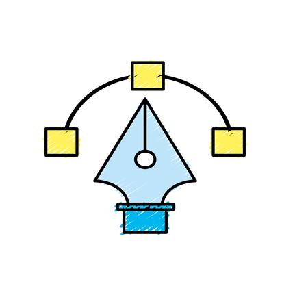Pen with nodes design image vector illustration