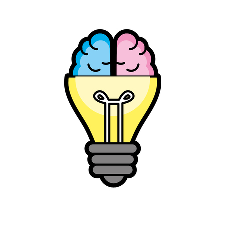 mentality: bulb with brain to creative idea vector illustration Illustration