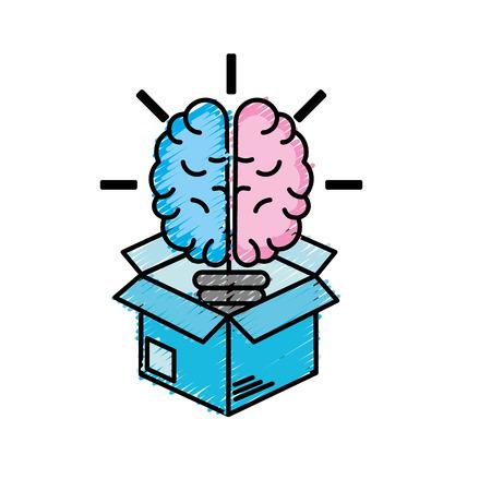 Box with creative bulb brain inside vector illustration