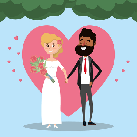 Couple married with heart and bouquet flowers vector illustration Illustration