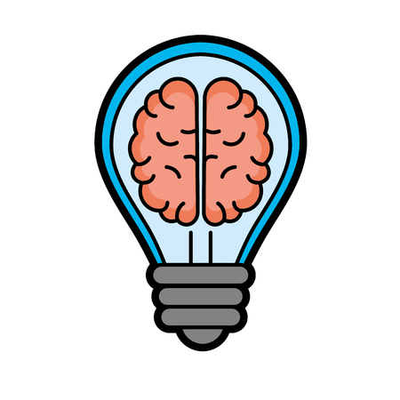 Creative bulb with brain inside over white background vector illustration