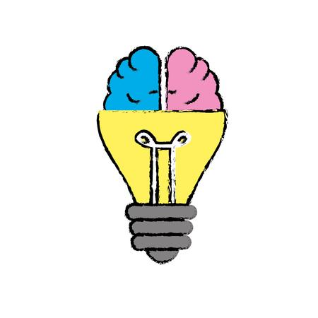 Bulb with brain to creative idea vector illustration Illustration