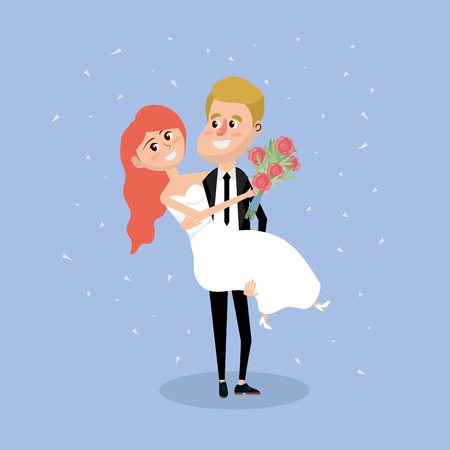 couple married with bouquet flowers in the hand Illustration