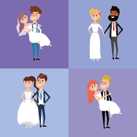 wedded: Set bride and groom marry style vector illustration. Illustration