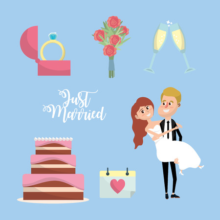 Set just married with things to ceremony vector illustration.