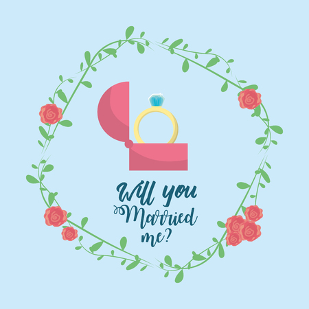 wedded: Just married with ring and branch decoration vector illustration.