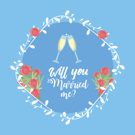 Just married with wine glass and branch decoration vector illustration
